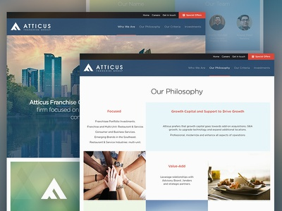Atticus homepage layout business finance franchise web ux ui