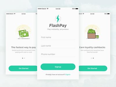 Flash pay onboarding signup signin mobile app ux ui flat money cashback onboarding payment