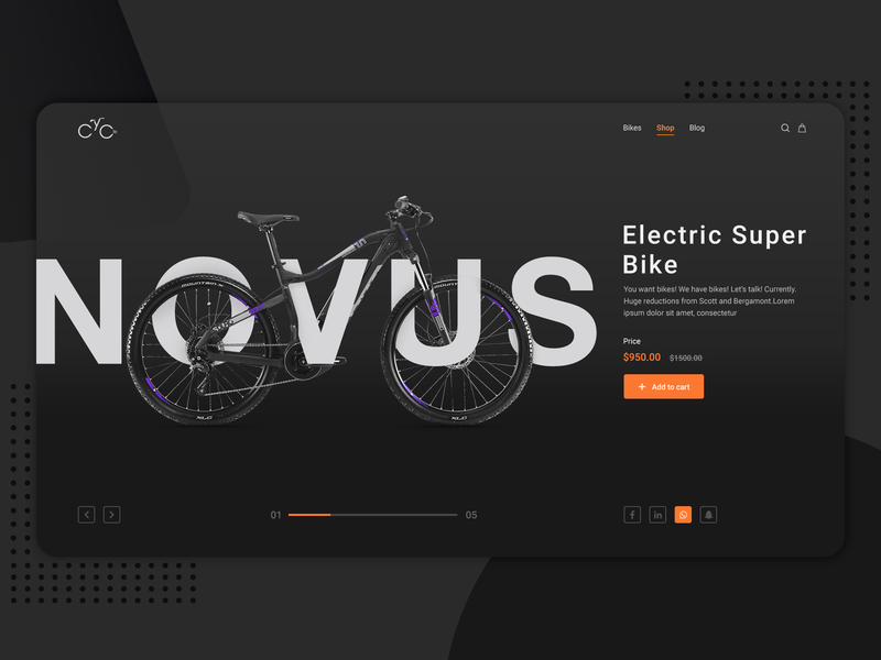 Electric Bike Web Design - Dark Version dark black web design web visual ux ui typography simple runwell fashion electric bike e-commerce design branding bixby color bike ride bicycle bike
