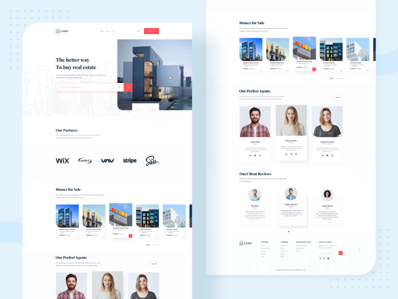 Land - Real Estate Landing Page Exploration clean experience website web ux user real estate property page landing home design