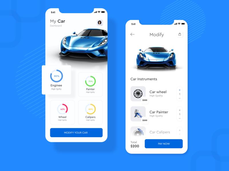 Car Modify App Design Concept ux ui time mobile ios icons graphics duration destination cuberto city carpooling car calendar app