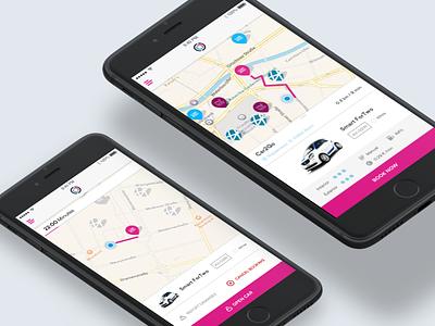 Free2Move - Booking Process process booking navigation map interface berlin carsharing sharing interaction visual ui ux