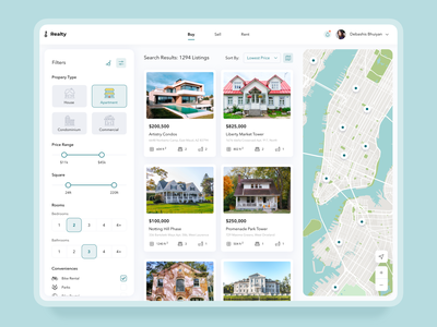 The Real Estate Website flat rent dashboard map icon filters house real estate