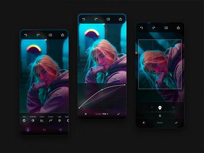 Photo Editing App edit dark icons photo app interface