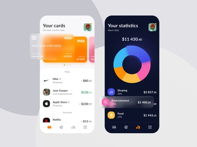 Financial App bank card dark light blur glass transactions bank clean
