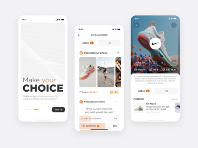 Social Media Application app light interface white clean profile feed comparing social ux ui