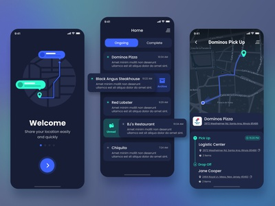 Logistic Delivery App icons app notifications onboarding tracking delivery road map dark clean ux interface ui