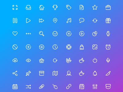 «72 ICONS» FREE SET. PART I map hands user file chat attach gift mail vector set icons free