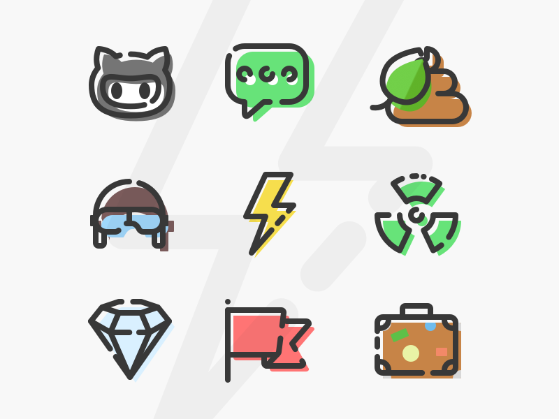 FREE Crazy Icon Set (18 vector icons) - Sketch | PDF download pdf pack freebie freebies radioactive chat diamond crazy vector sketchapp icons