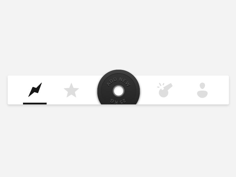 Tab Bar star profile flash gym buttons sport clean icons navbar tabbar