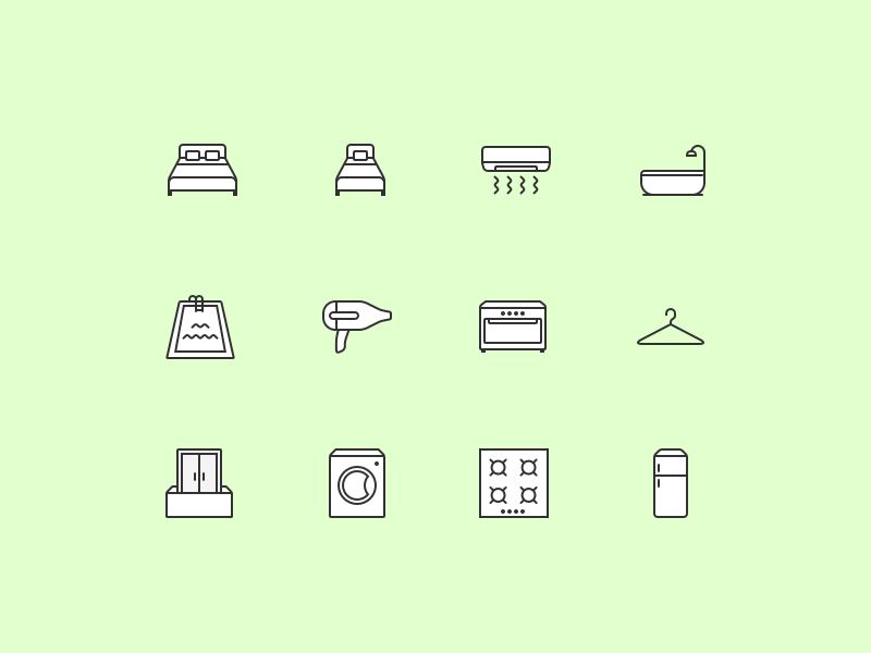 Facility Icons bath fridge hairdryer burner washingmachine oven apartment vector set flat icons