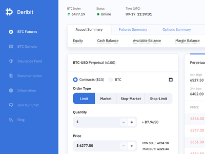 Cripto Trading Platform Concept Design - Deribit light white shadow coin minimalism bitcoin icons sidebar web dashboard trading crypto interface clean ui ux