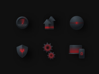 Icons for crypto currency website evil light shield gears iphone macbook laptop computer update speed black and red style dark black illustration icons