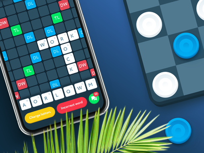 Bluetooth Scrabble Game game design clean colorful game app ux ui interface checkers scrabble