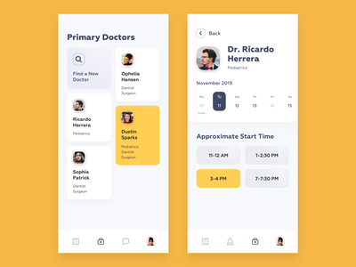 Medical Consultation App (Patient side) app interface ux ui icons health consultation booking appointment physician patient doctor clean