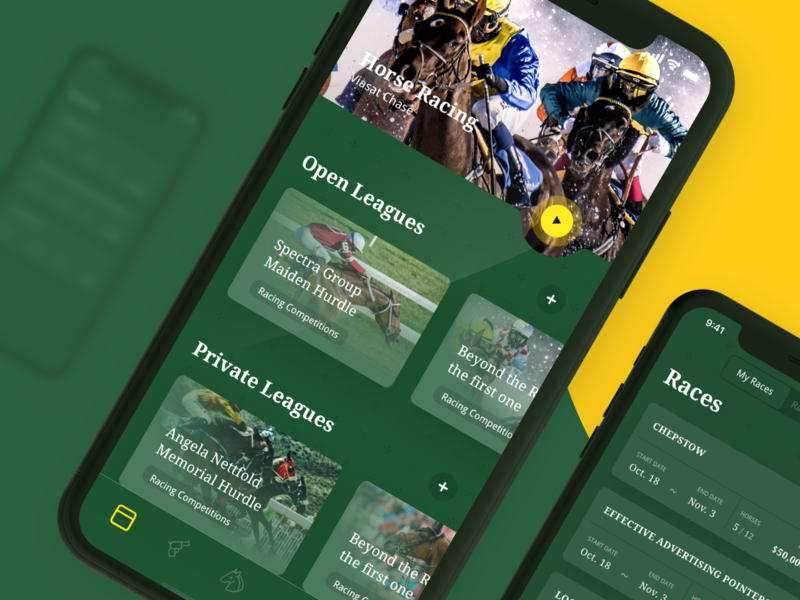 Horses Racing App horses app green yellow racing bet club interface ui ux sophisticated