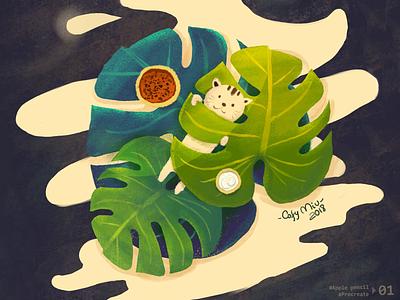 Little Cat on iPad pro leaf cat procreateapp apple pencil illustration