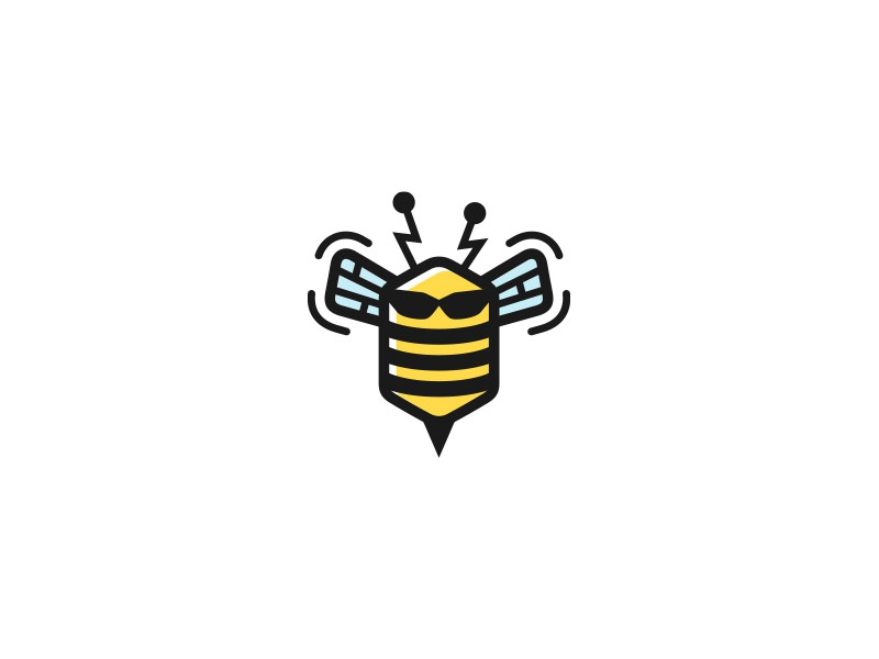 Beebit computer sting electric stripes wings insect glasses bit bee logo