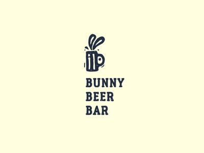 Bunny Beer Bar handmade rough cafe gastropub ears glass pub bar beer rabbit bunny logo