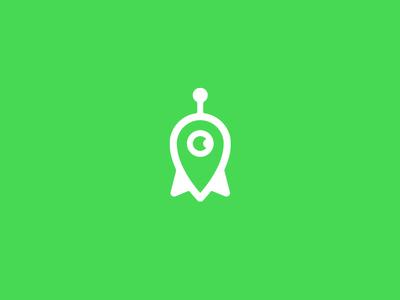MAPS.ME Identity Concept map pin power speed robot rocket pin navigation mapsme maps logo