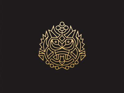 Face Something crown eyes bird outline logo owl ethnic mark mask face