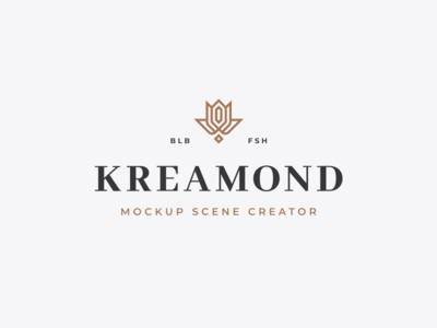 Kreamond Scene Creator Logo design studio agency branding identity classic serif gold crown scenecreator mockup logo