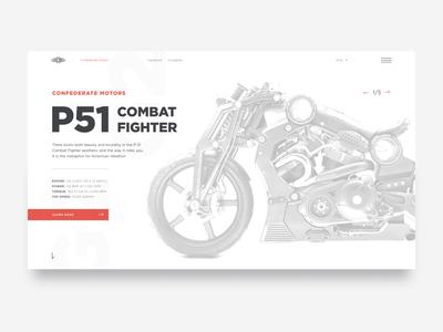 confederate motors landing page concept