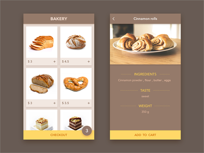 interface-Bakery  ui interface brown cake bread bakery