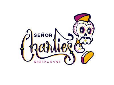 Sr Charlie's Restaurant charlie sr mexico skull icon logo restaurant lettering brand