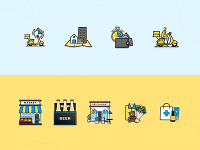 Wisy Delivery Icon Set yellow blue design illustration icons icon alcohol restaurant market georgia delivery app delivery