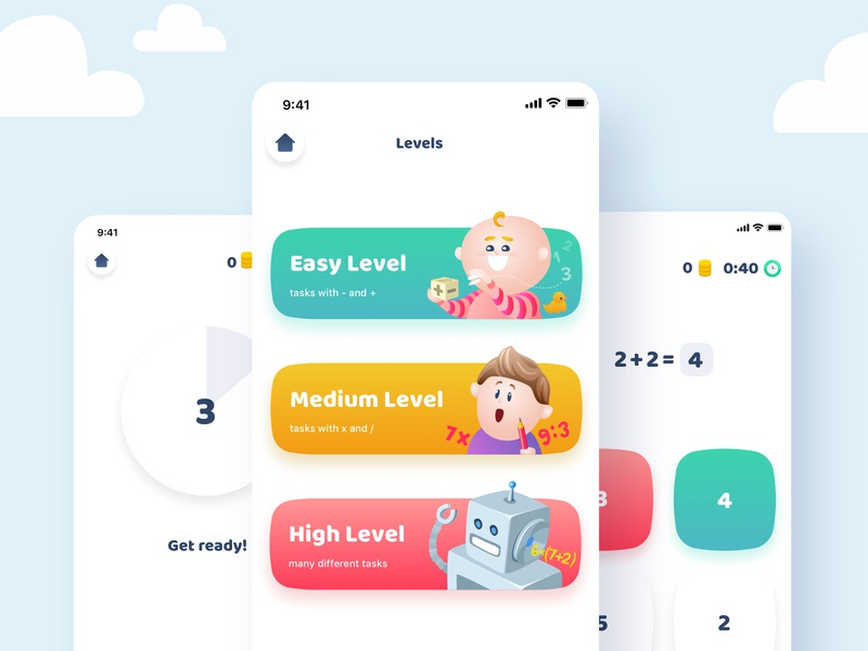 Learn Math android ios vector app ux ui illustration design