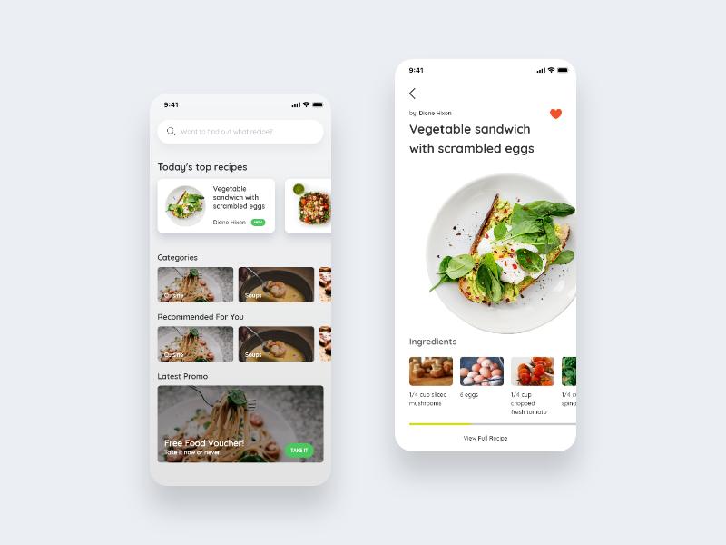 Recipe App - Design Exploration by Muhammad Sarwani on Dribbble