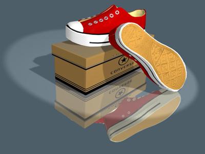 3D model - Converse Sneakers blender sneakers converse shoes 3d model