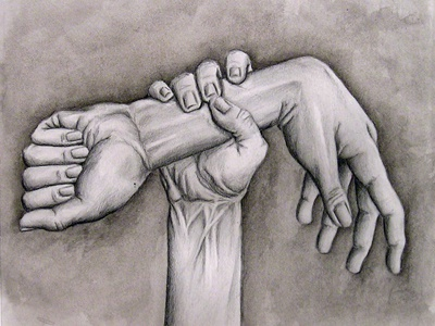 Pencil & Ink Wash - We Hold the Power Between Life and Death pencil drawing hand black and white art ink
