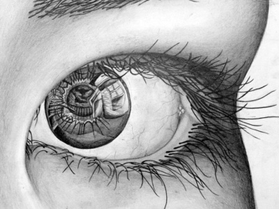 Pencil - House In Eye pencil drawing eye reflection black and white art house