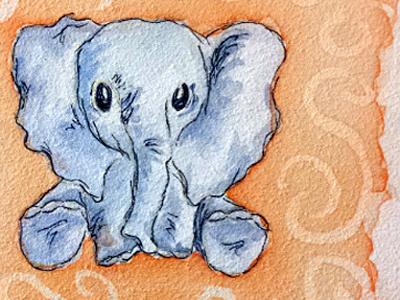 Baby Elephant elephant watercolor paint illustration blue orange baby shower animal character