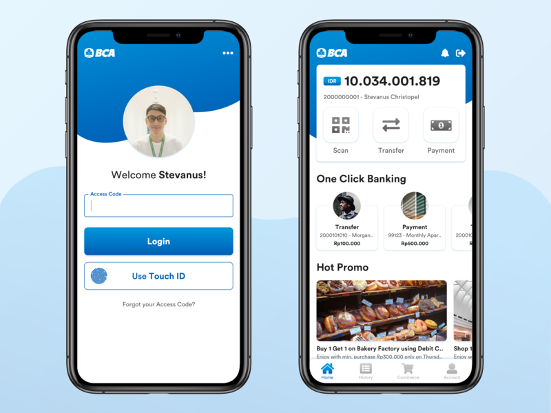 BCA Mobile Redesign Concept commerce fintech payment touch id blue banking digital mockup home login iphone x concept app ui ux mobile bank bca