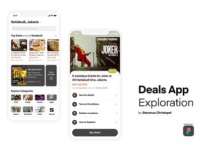 Deals App Exploration redemption mobile app uiux details home categories nearby coupons vouchers deals design mobile ux ui