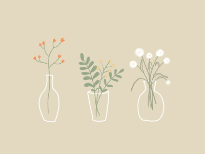 Simple flowers feeling hand drawn illustration flowers