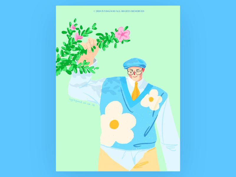 Boy with flower illustration