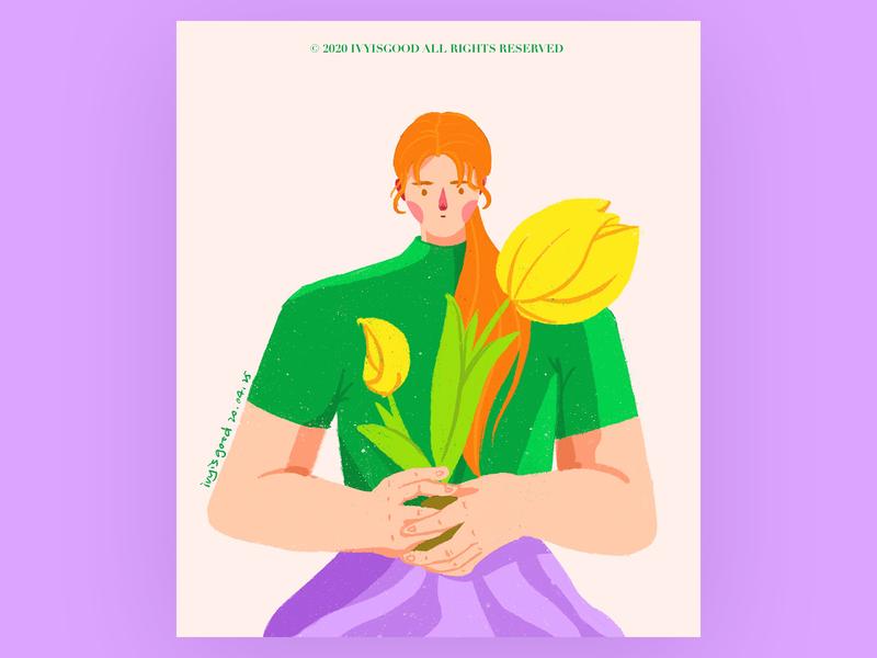 Girl with flower illustration