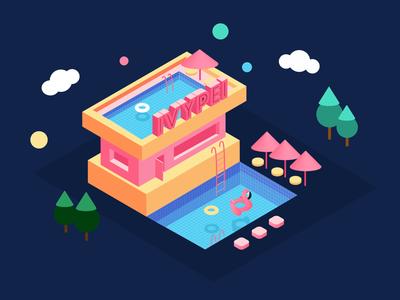2.5d cute building uidesign illustrator illustrate 2.5d ui building
