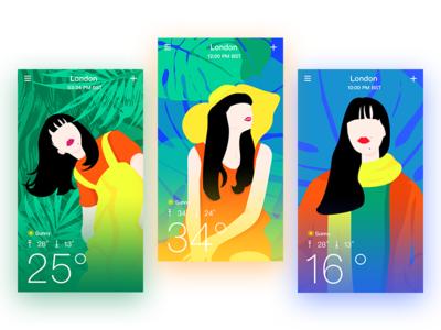 Colorful Weather App! ui color weather illustration interface app