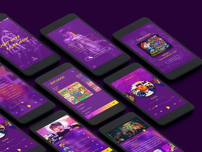Spotlight Music App yellow purple interface user ui music app