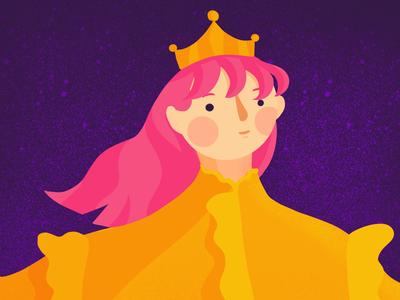 The Queen bright colour illustration