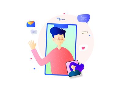 Video Call - Illustration boy animation chat codetheorem theorem code ios branding appdesign illustrator vectorart vector android iphone person ux ui illustration call video