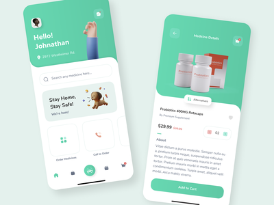MedKart Mobile Application - Redesign theorem code app android ios home vector art 3d illustration ecommerce medicine health application mobile design ux ui