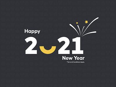 Happy New Year - 2021 theorem code codetheorem branding ux ui 2021 dark design icon typography vector illustration celebration new year