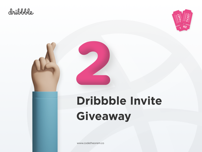 2 Dribbble Invite Giveaway minimal app typography vector illustration web design branding ticket invite giveaway dribbble