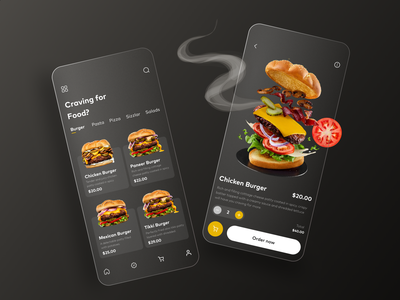 The Burgers App hotel details home screen delivery codetheorem theorem code burger vector illustration typography logo android ios application food design ux